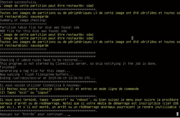 Clonezilla - cmd partition sda2