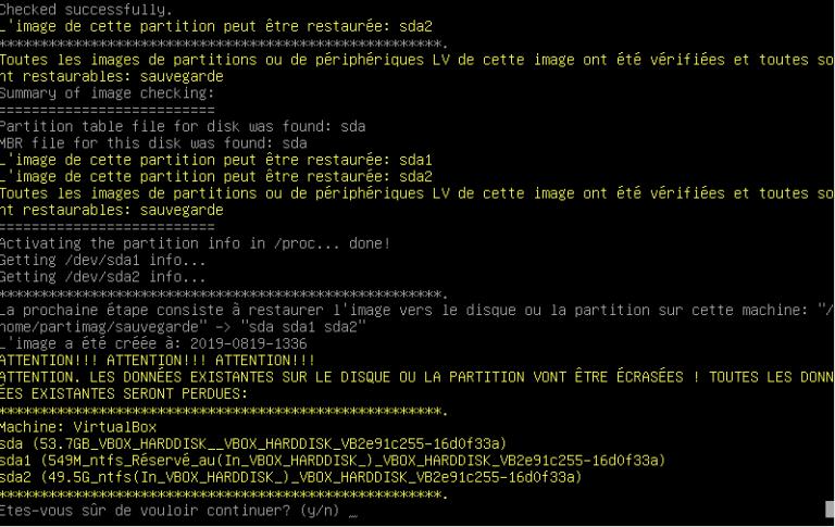 Clonezilla - cmd partition sda2 restaurée