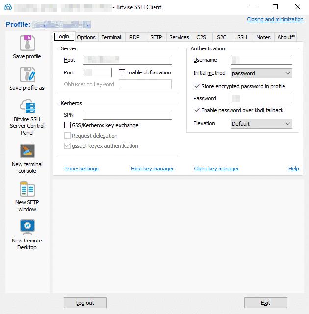 Systeme GNU/Linux - Bitvise SSH Client